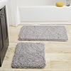 Lavish Home 2 Piece Memory Foam Shag Bath Mat - Grey