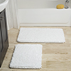 Lavish Home 2 Piece Memory Foam Shag Bath Mat - White