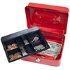 Stalwart 8 Inch Locking Cash Box with Coin Tray