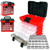 Stalwart Parts & Crafts Rack Style Tool Box with 4 Organizers - Red