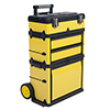 Stackable Toolbox Rolling Mobile Organizer with Telescopic Comfort Grip Handle ? Upright Rigid Pack Out Cart with Wheels and Drawers by Stalwart