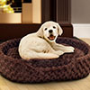 PETMAKER Large Cuddle Round Plush Pet Bed - Brown