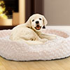 PETMAKER Small Cuddle Round Plush Pet Bed - Ivory