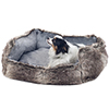 PETMAKER Small Faux Fur Gray Wolf Dog Bed - 23 x 19 Inch