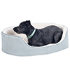 PETMAKER Small Gray Cuddle Round Suede Pet Bed - 23 x 18 Inch
