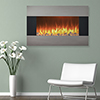 Stainless Steel Electric Fireplace with Wall Mount and Floor Stand And Remote, 36 Inch By Northwest