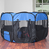 Pop-Up Playpen - 42? x 25? Portable Octagon Exercise Enclosure with Zipper Top for Cats, Kittens, Dogs, Puppies and Rabbits by PETMAKER (Blue/Black)