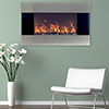 Stainless Steel Electric Fireplace With Wall Mount and Remote, 36 Inch By Northwest