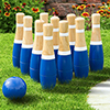 Lawn Bowling Game/Skittle Ball- Indoor and Outdoor Fun for Toddlers, Kids, Adults ?10 Wooden Pins, 2 Balls, and Mesh Bag Set by Hey! Play! (8 Inch)