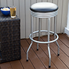 Outdoor Ribbed Swivel Barstool - Silver