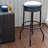 Outdoor Ribbed Swivel Barstool - Black