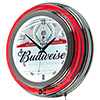 Budweiser Chrome Double Rung Neon Clock - Label Design