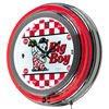 Bobs Big Boy Checkered Chrome Double Ring Neon Clock