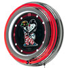 Bobs Big Boy Wordmark Chrome Double Ring Neon Clock