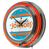 Howard Johnson Vintage Chrome Double Ring Neon Clock