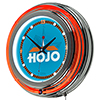 Howard Johnson Wordmark Chrome Double Ring Neon Clock