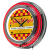Stuckeys Checkered Chrome Double Ring Neon Clock