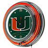 University of Miami Chrome Double Rung Neon Clock - Reflections