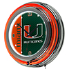 University of Miami Chrome Double Rung Neon Clock - Text
