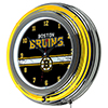 NHL Chrome Double Rung Neon Clock - Boston Bruins�