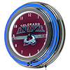 NHL Chrome Double Rung Neon Clock - Colorado Avalanche�