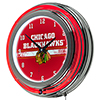 NHL Chrome Double Rung Neon Clock - Chicago Blackhawks�