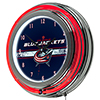 NHL Chrome Double Rung Neon Clock - Columbus Blue Jackets�