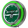 NHL Chrome Double Rung Neon Clock - Dallas Stars�