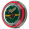 NHL Chrome Double Rung Neon Clock - Minnesota Wild�