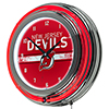 NHL Chrome Double Rung Neon Clock - New Jersey Devils�