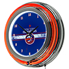 NHL Chrome Double Rung Neon Clock - New York Islanders�