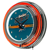 NHL Chrome Double Rung Neon Clock - San Jose Sharks�