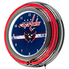 NHL Chrome Double Rung Neon Clock - Washington Capitals�