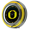University of Oregon Chrome Double Rung Neon Clock - Carbon Fiber
