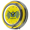 University of Oregon Chrome Double Rung Neon Clock - Wings