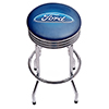 Ford Chrome Ribbed Bar Stool - Ford Oval Logo