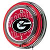 University of Georgia Chrome Double Rung Neon Clock - Wordmark