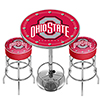 Ohio State University Scarlet Game Room Combo - 2 Bar Stools and Table