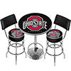 Ohio State University Black Game Room Combo - 2 Stools w/Back & Table
