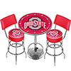 Ohio State University Scarlet Game Room Combo-2 Stools w/Back & Table