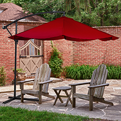 Patio Umbrella, Cantilever Hanging Outdoor Shade, Easy Crank and Base for Table, Deck, Balcony, Porch, Backyard, Pool 10 Foot by Pure Garden (Red)