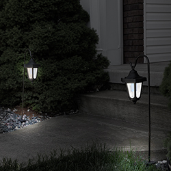 Solar LED Hanging Coach Lanterns ? Black - Set of 2  Image