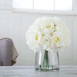 Hydrangea and Rose Floral Arrangement with Vase - Cream Image