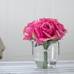 Rose Floral Arrangement with Glass Vase - Pink Image