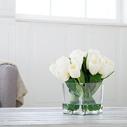 Tulip Floral Arrangement with Glass Vase - Cream Image