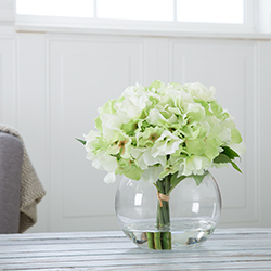 Hydrangea Floral Arrangement with Glass Vase - Green Image