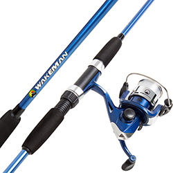 Fishing Rod and Reel Combo, Spinning Reel, Fishing Gear for Bass and Trout Fishing, Great for Kids, Blue - Swarm Series by Wakeman