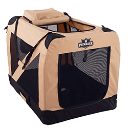 PETMAKER Portable Soft Sided Pet Crate-36 x 24 inches-Khaki