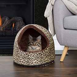 PETMAKER Cozy Canopy Pet Cave Bed - Cheetah Print - 16x12x14.5