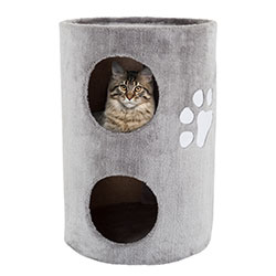 Cat Condo 2 Story Double hole with scratching surface 14in diameter 20.5in high gray by PETMAKER